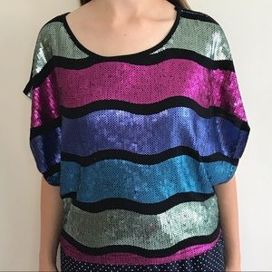 Charlotte Russe colorful Sequin Blouse